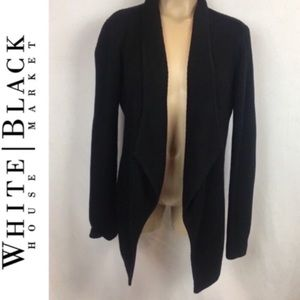 WHBM Black Ribbed Open Front Cardigan Sweater S